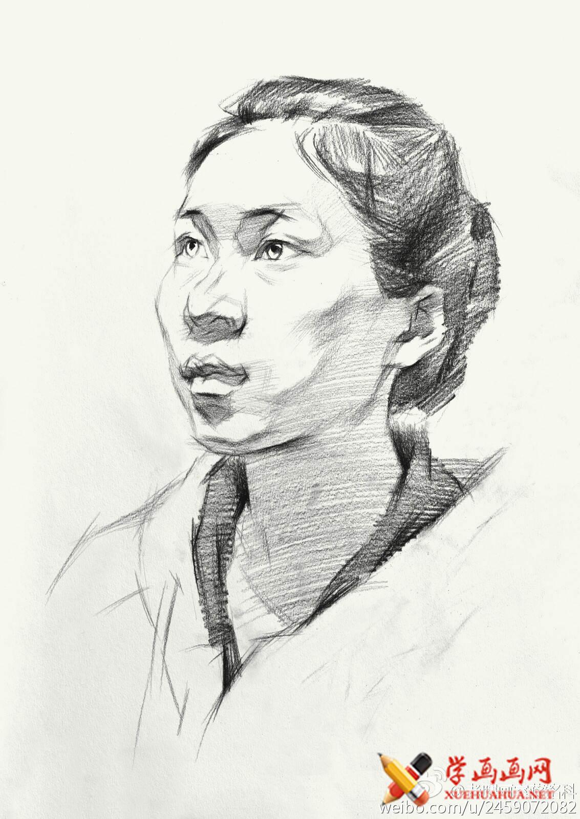 素描进阶教程:四分之三年轻女子素描头像作画步骤(4)