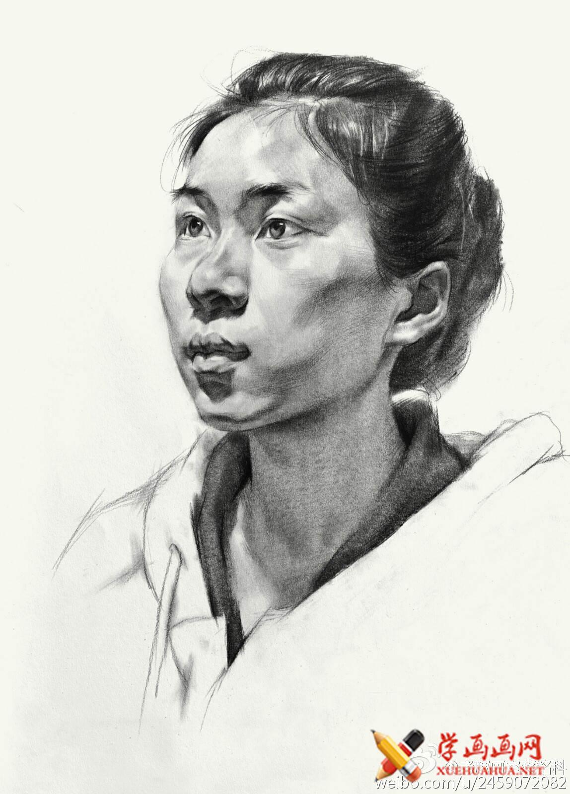 素描进阶教程:四分之三年轻女子素描头像作画步骤(5)