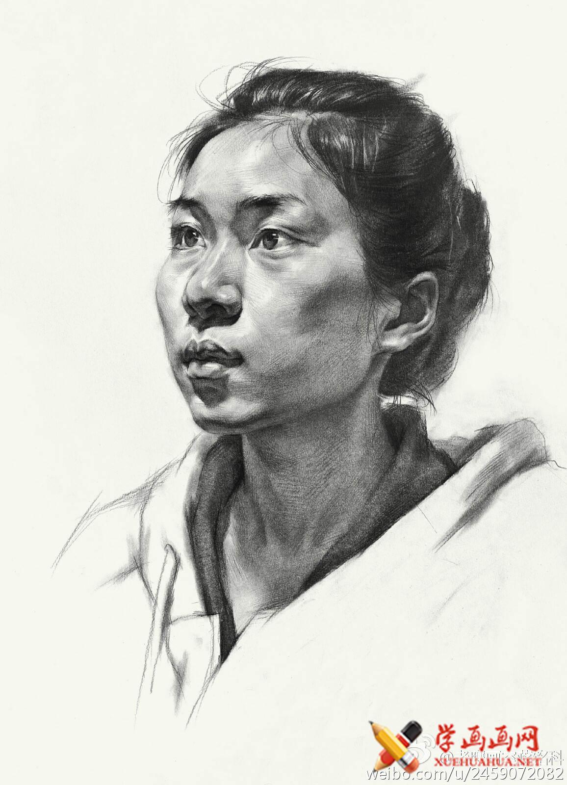 素描进阶教程:四分之三年轻女子素描头像作画步骤(6)
