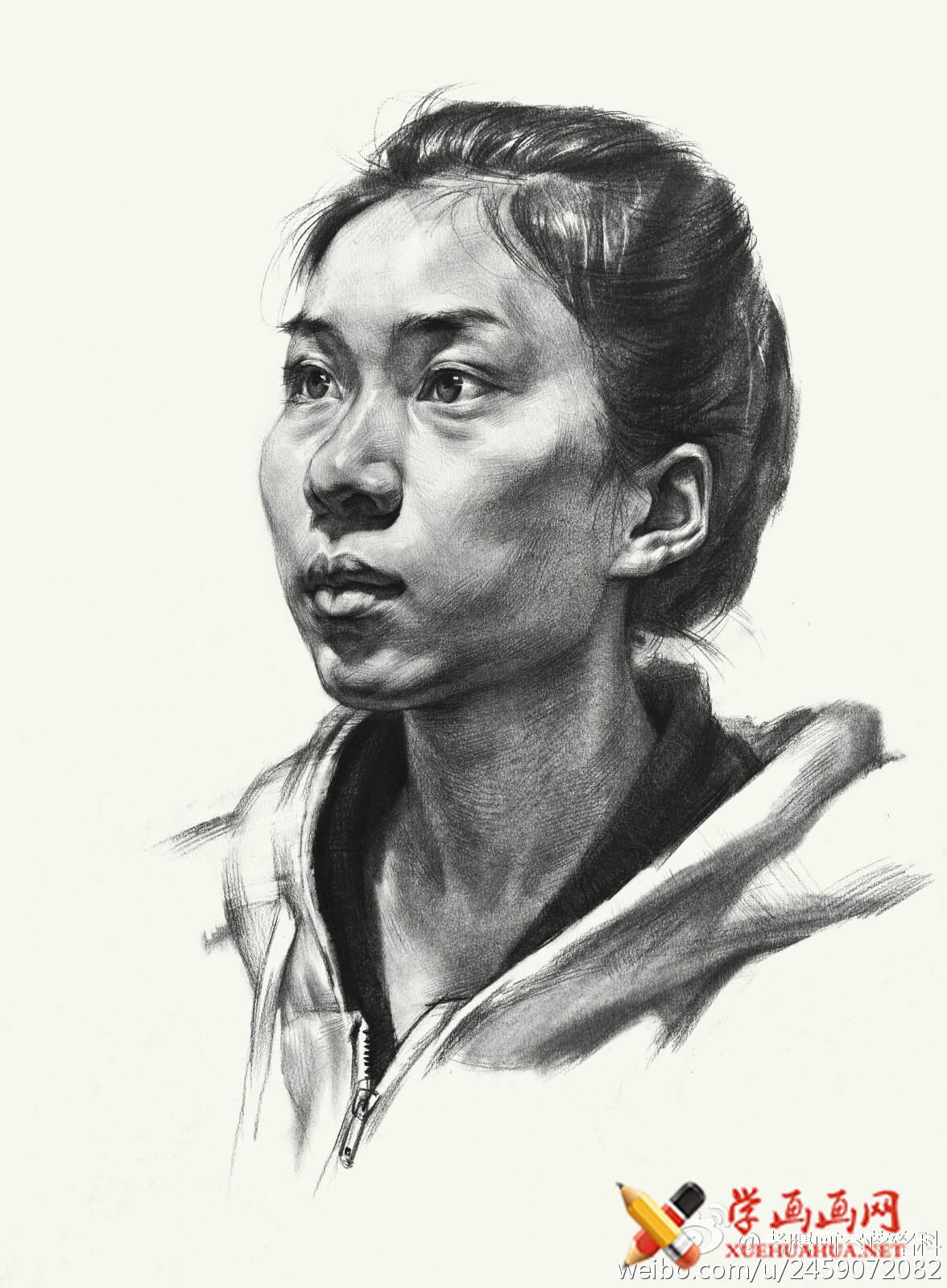 素描进阶教程:四分之三年轻女子素描头像作画步骤(7)