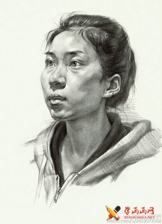 素描进阶教程:四分之三年轻女子素描头像作画步骤(8)