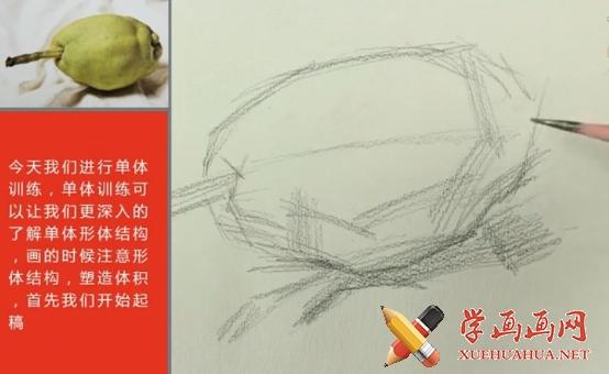 素描单个静物(水果蔬菜)的画法视频教程(1)