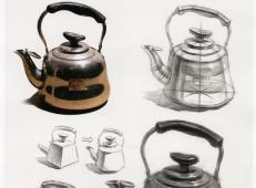 素描单体教程:不锈钢电水壶的画法步骤图解