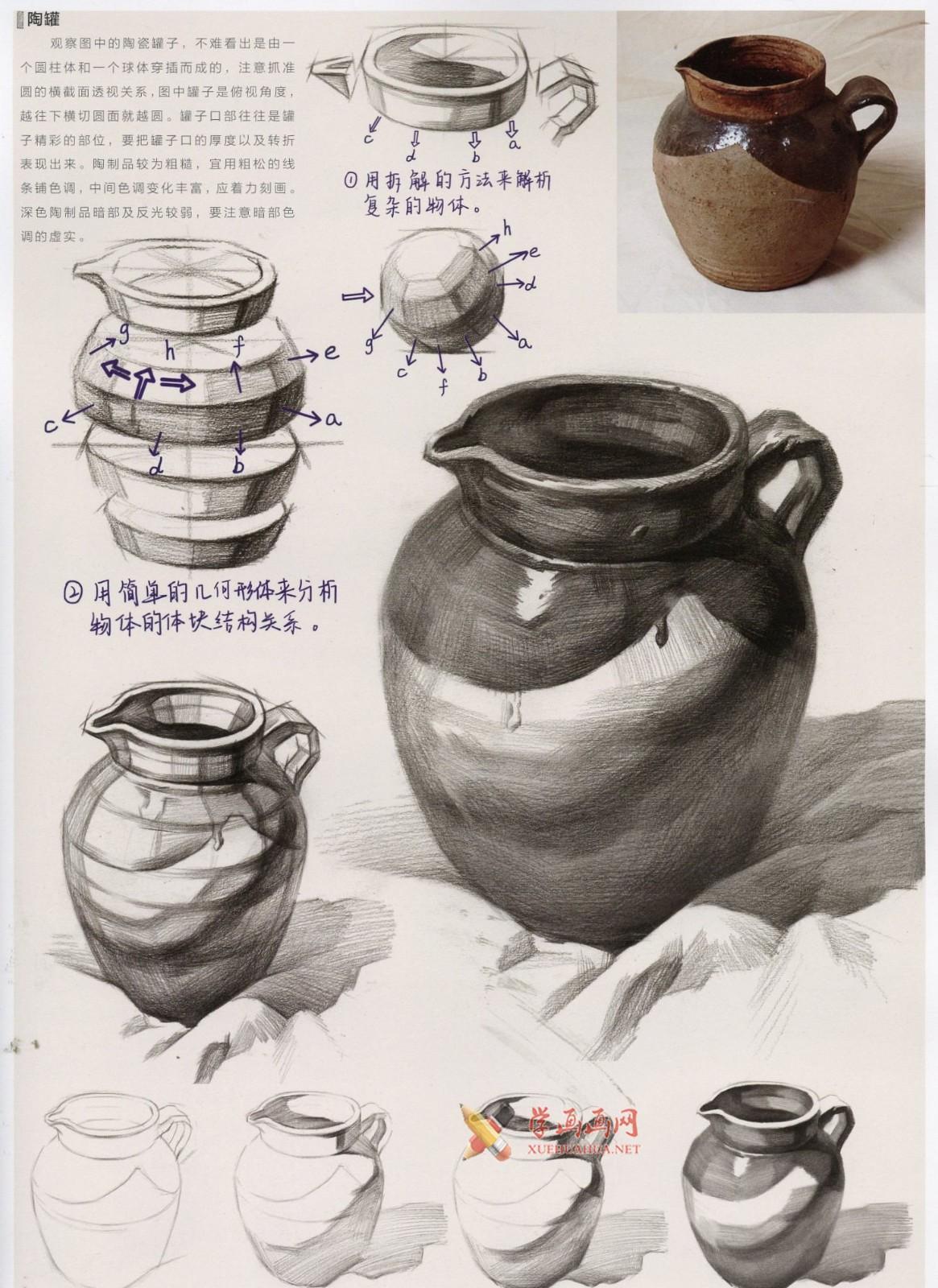素描陶罐、陶瓷类静物画法图解及临摹范画图片(4)