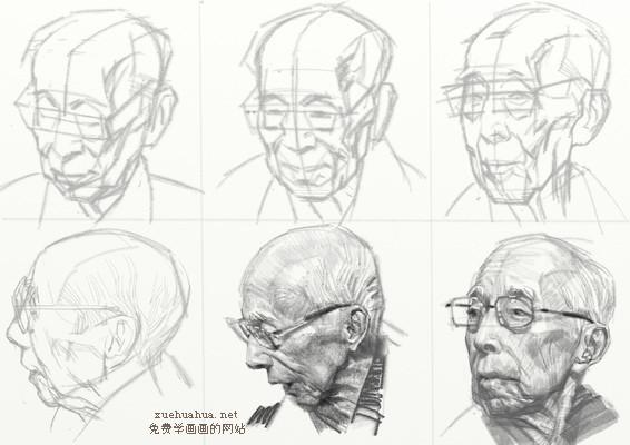 老年男性头像各角度步骤分解教程