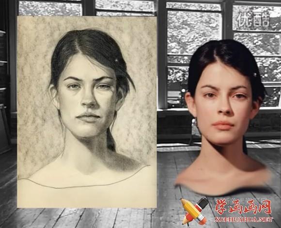 国外女头像素描教程
