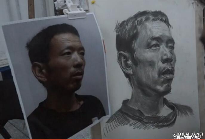 传奇画室男中年素描头像教程(1)