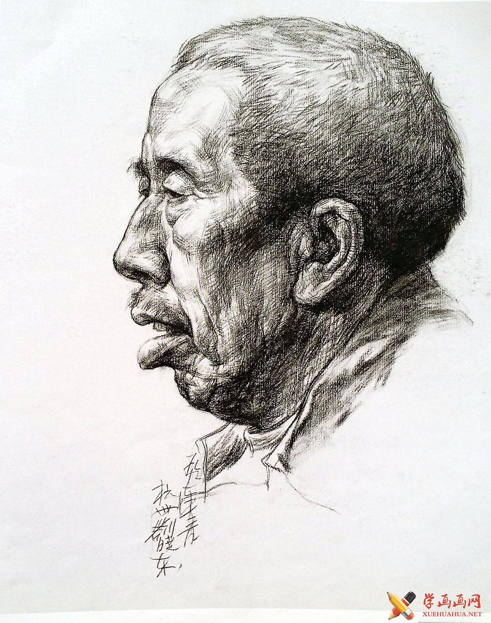 老年男子正侧面素描头像赏析(1)