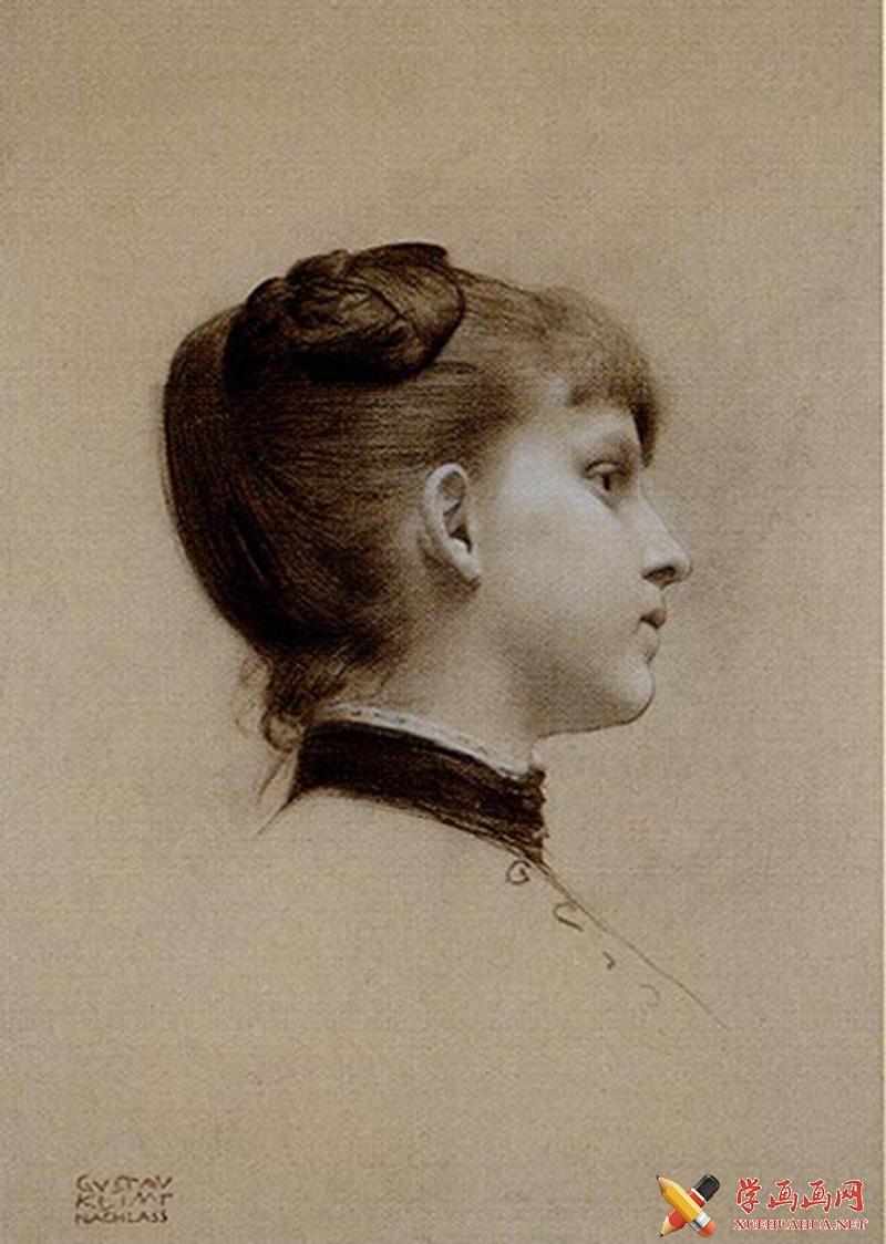 女子正侧面素描头像2张(1)