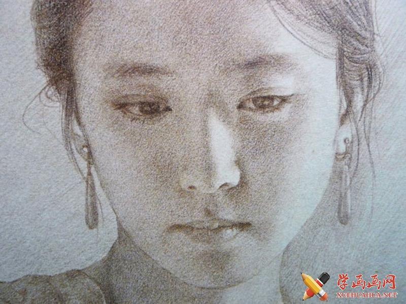 女子正侧面素描头像2张(2)