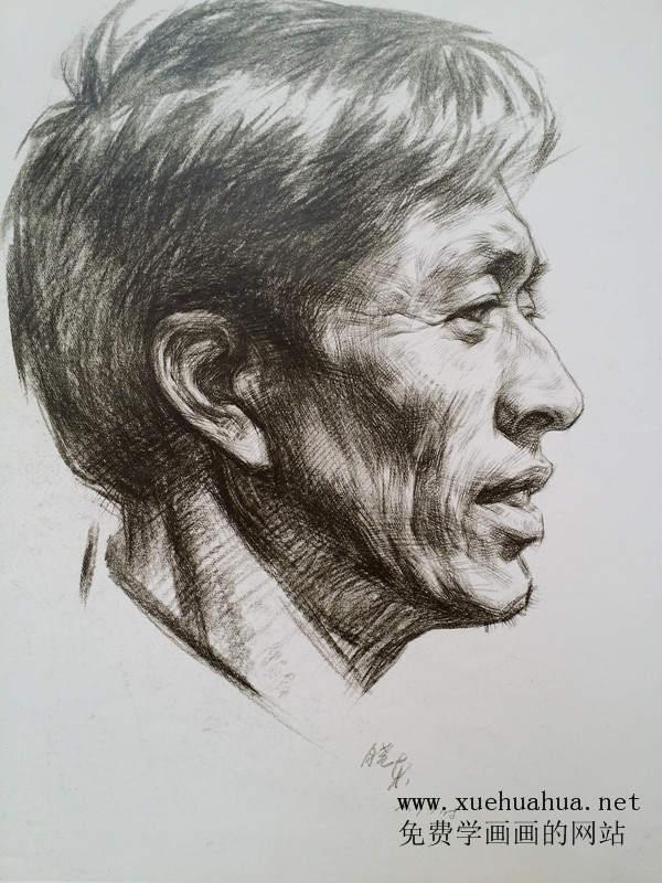 侧面中老年男子头像素描图片(高清临摹素材)