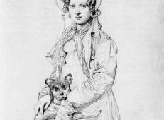 安格尔素描大全《亨丽埃特·克莱尔小姐,也许是戴维南,和她的狗伊克塞尔》.jpg
