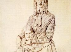安格尔素描全集《弗里德里克·莱塞特夫人和她的女儿玛丽》.jpg