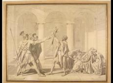 安格尔《荷拉斯兄弟之誓,仿达维特》素描稿.jpg