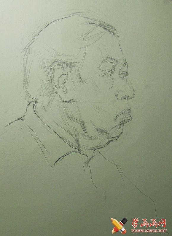 正侧面老人素描头像画法步骤