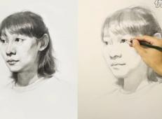 素描视频:女青年三分之二侧面素描头像画法