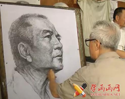 付大力素描视频教程:中老年男子侧面头像的画法(1)