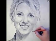 国外牛人素描画斯嘉丽约翰逊视频