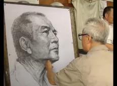 付大力素描视频教程:中老年男子侧面头像的画法