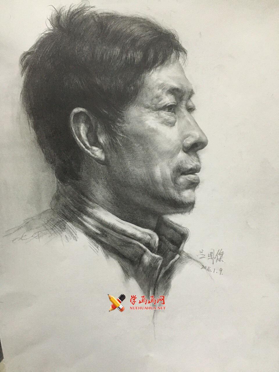 老鹰画室吕国杰老师素描头像范画欣赏(1)