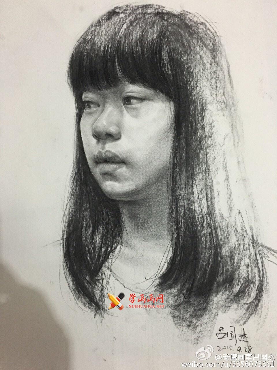 老鹰画室吕国杰老师素描头像范画欣赏(4)