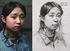 女青年半侧面素描头像画法视频教程