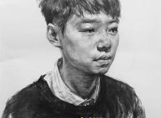 央美师锋小男生3/4素描头像作画步骤示范图