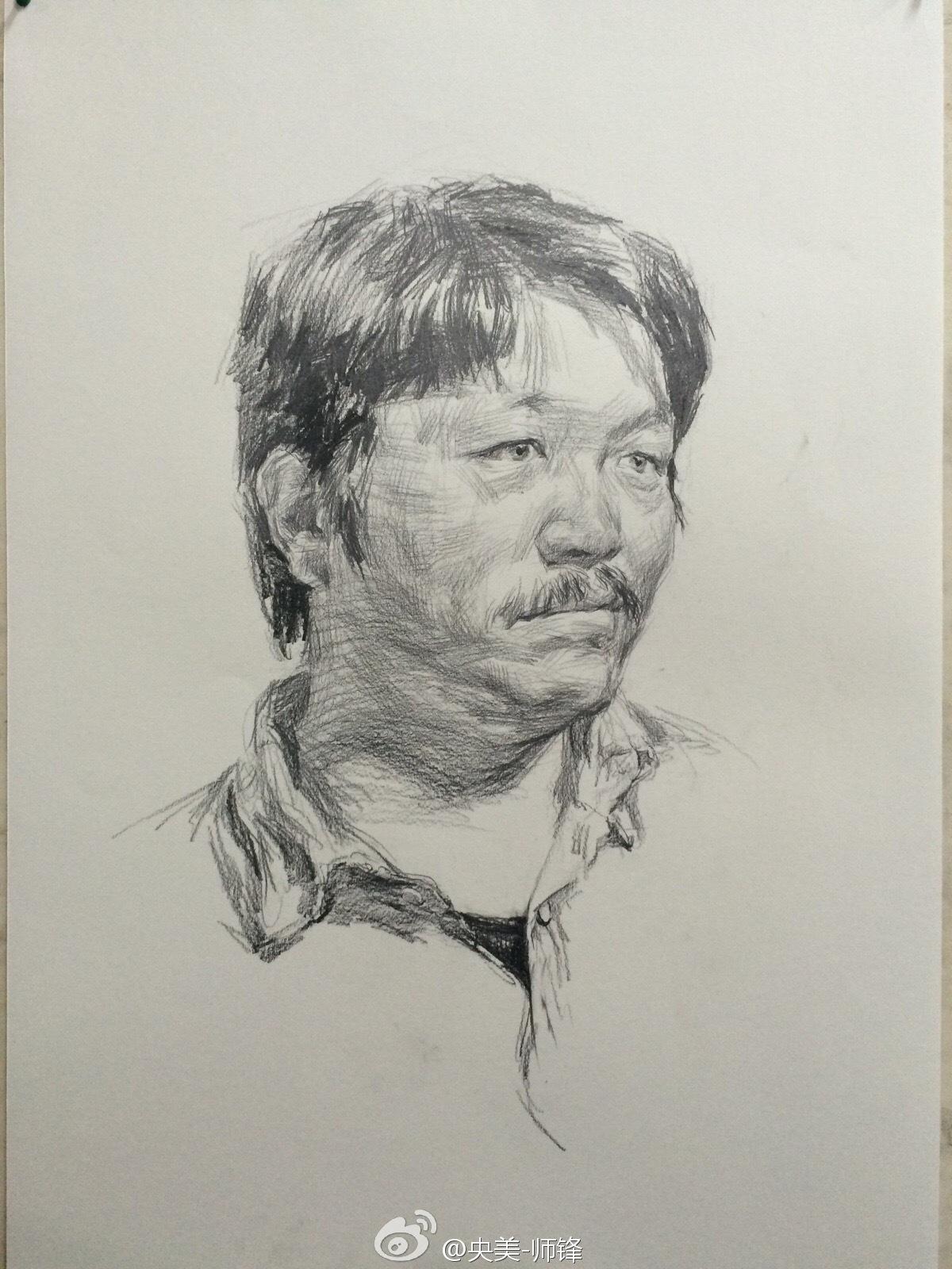 央美师锋中年男子素描头像作画步骤(3)