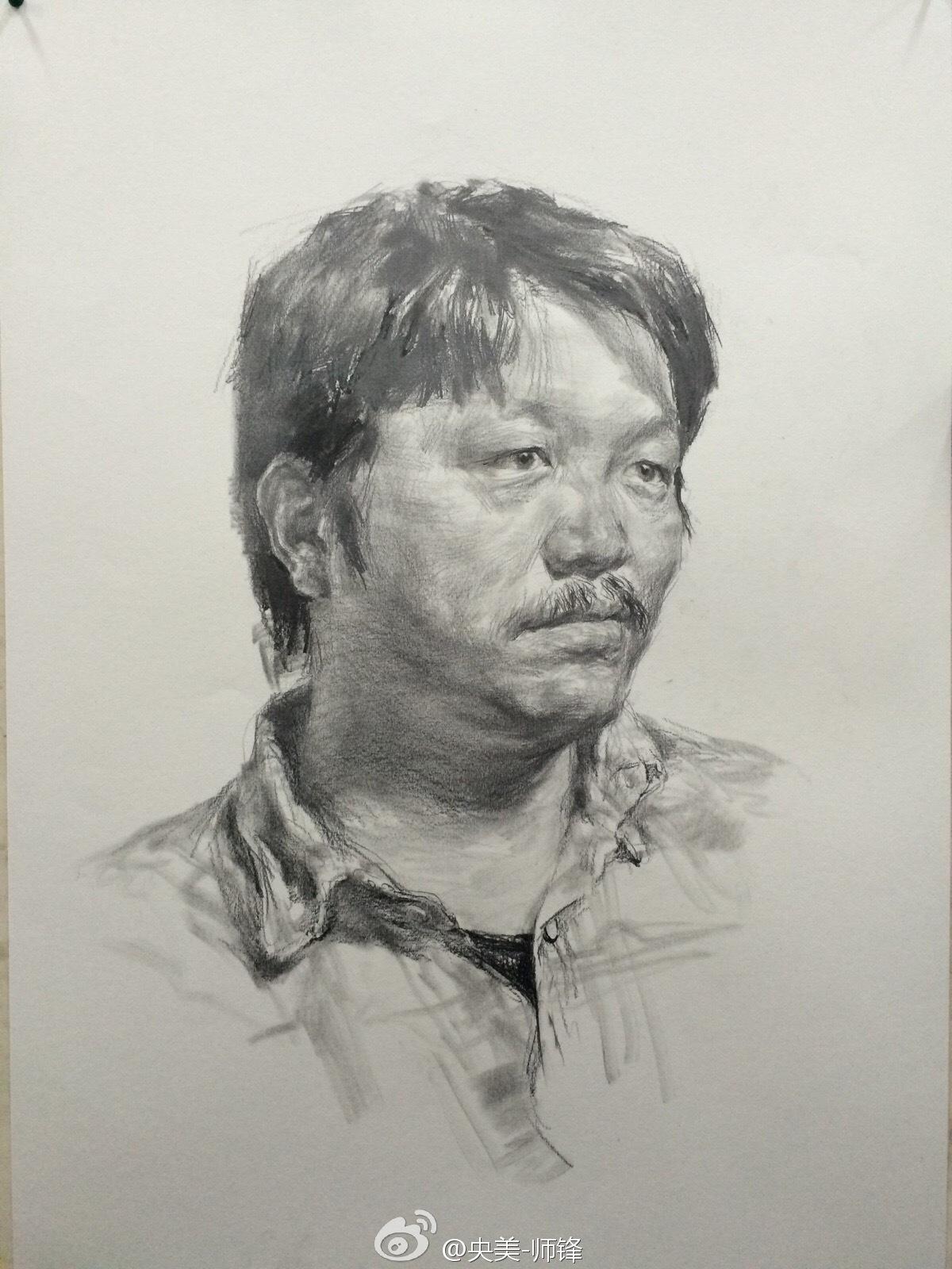 央美师锋中年男子素描头像作画步骤(4)