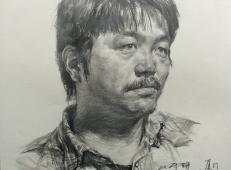 央美师锋中年男子素描头像作画步骤
