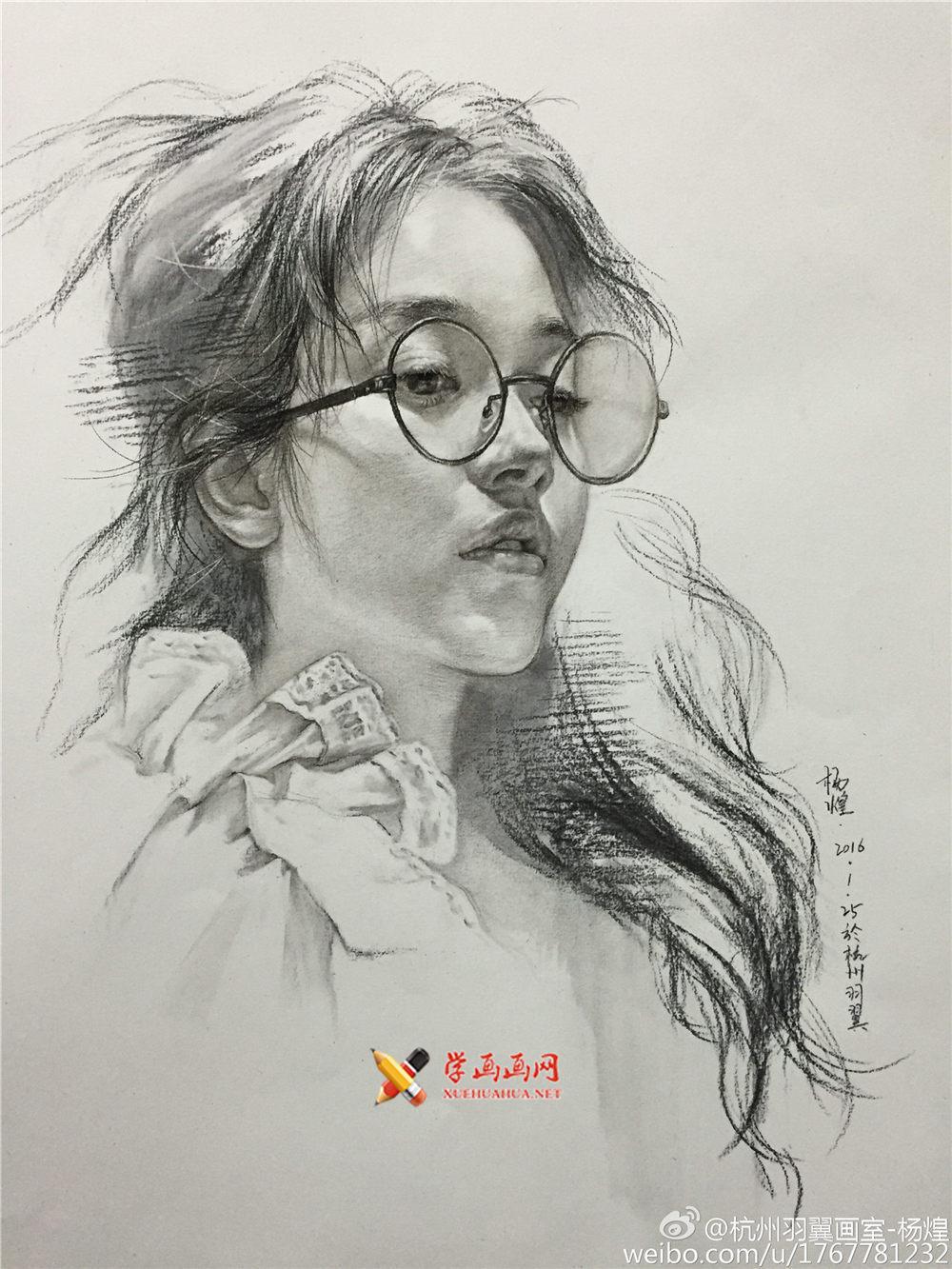 杭州羽翼画室杨煌美女素描图片集(1)
