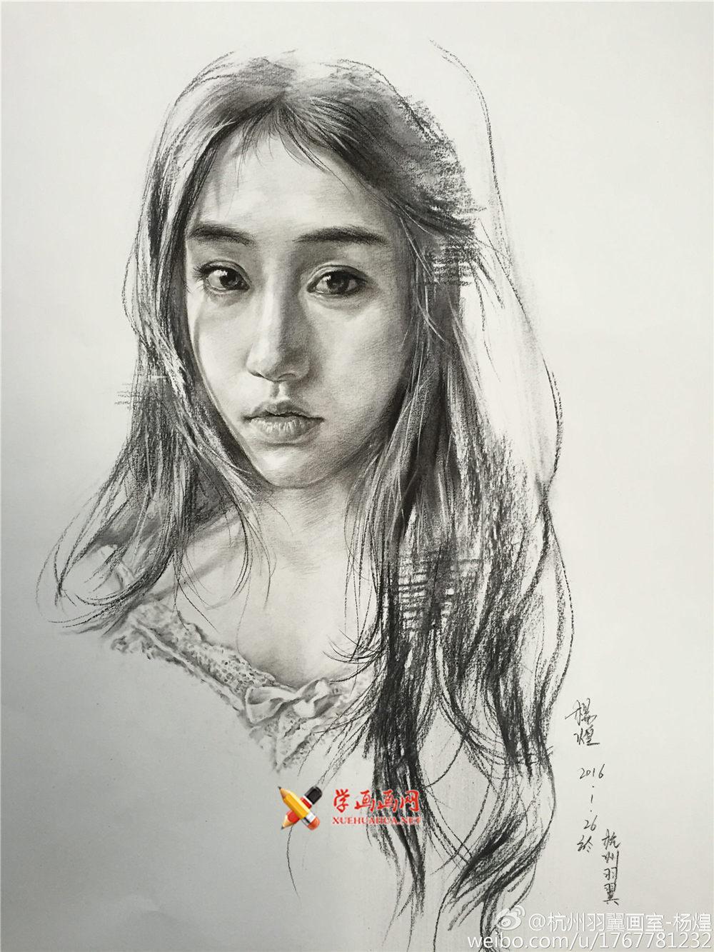 杭州羽翼画室杨煌美女素描图片集(3)
