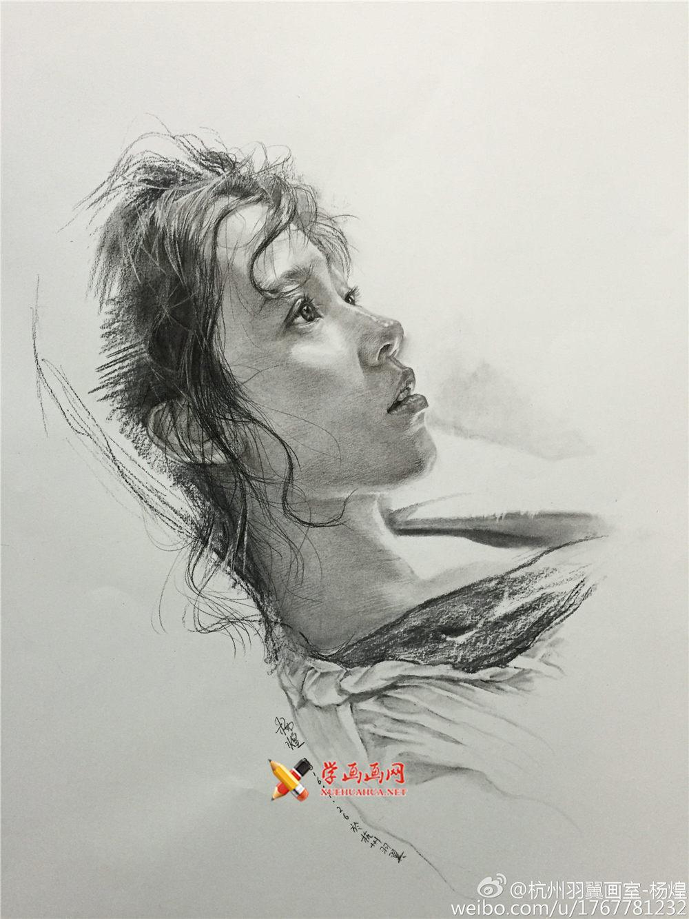 杭州羽翼画室杨煌美女素描图片集(2)