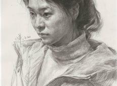 优秀素描画:3/4微俯扎辫子的年轻女子素描头像临摹图片