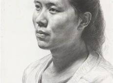优秀素描画:3/4侧面中年女子素描头像高清临摹图片