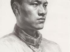 优秀素描画:正侧面平头年轻男子的画法素描高清临摹图片素材