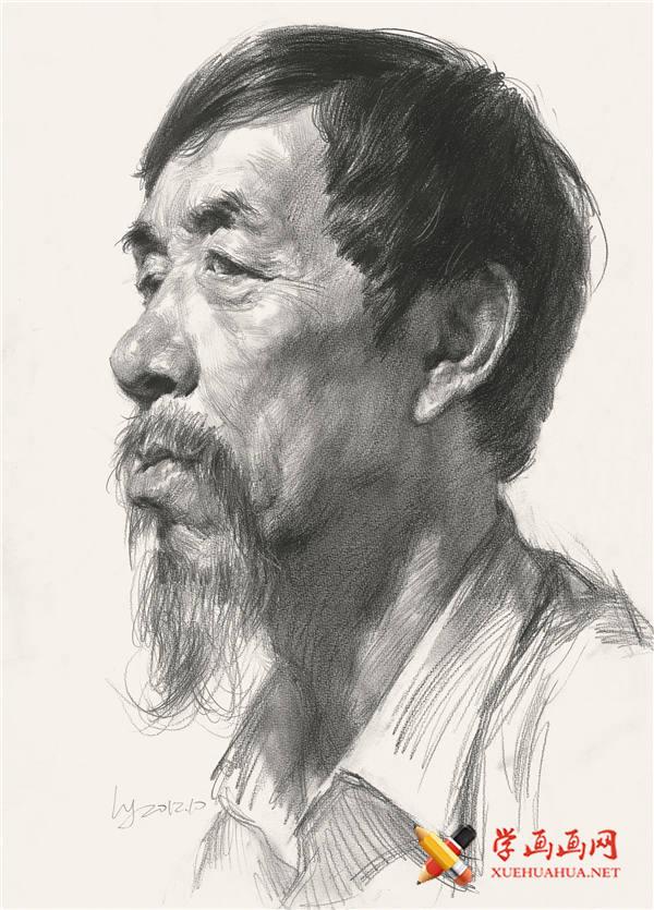 长着山羊胡子的老年男子侧面素描高清图片【可临摹】(1)