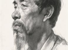 长着山羊胡子的老年男子侧面素描高清图片【可临摹】