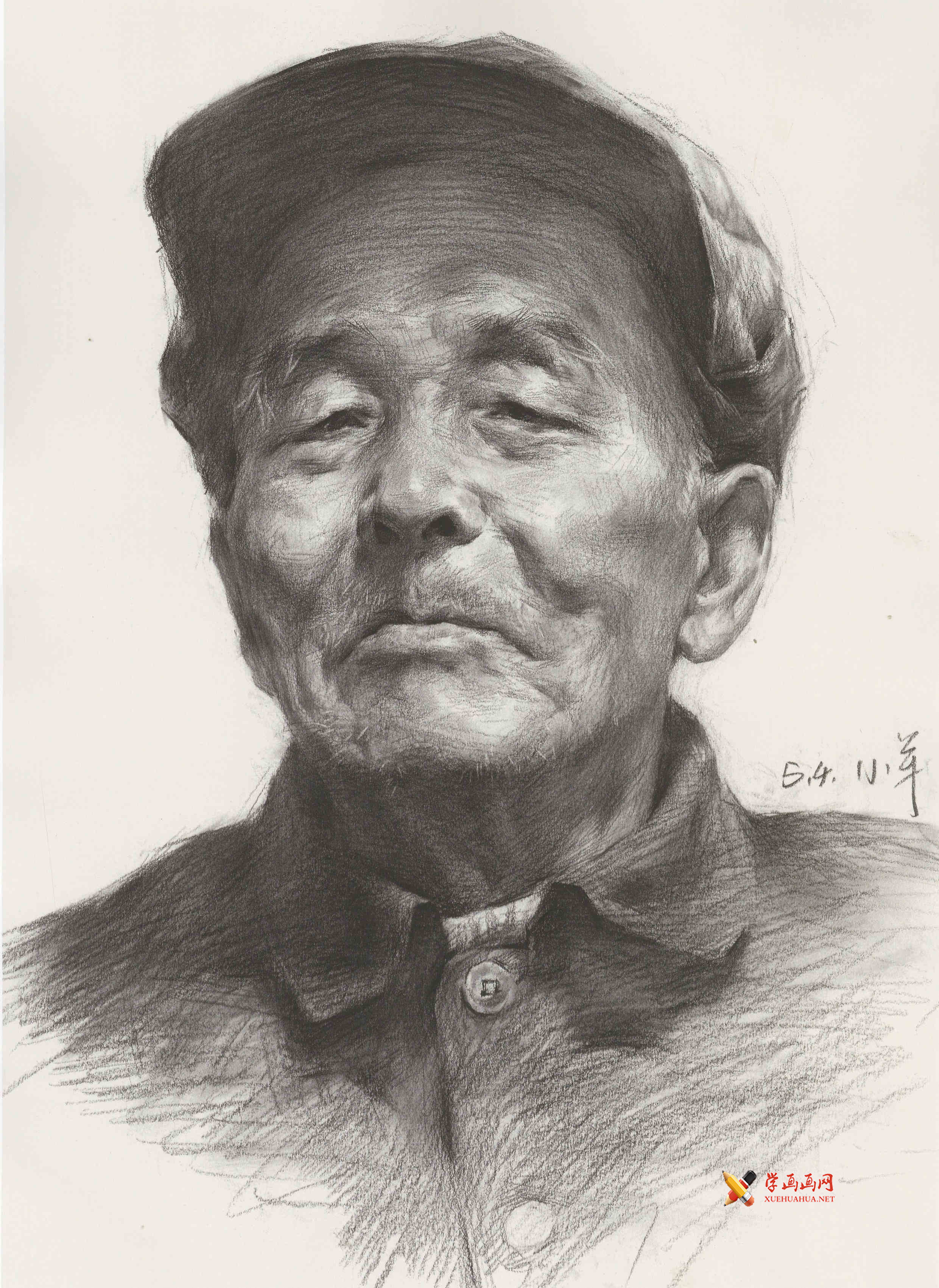 戴帽子的老年男子素描头像高清图片临摹素材(1)