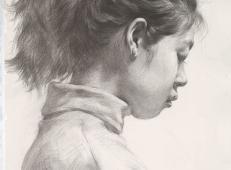 侧面扎马尾的女孩素描头像高清图片临摹素材