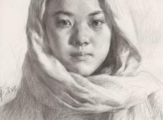 优秀素描画:包头巾的年轻女孩素描头像高清图片