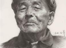 戴帽子的老年男子素描头像高清图片临摹素材