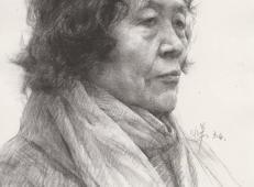 侧面老年女子素描头像高清图片