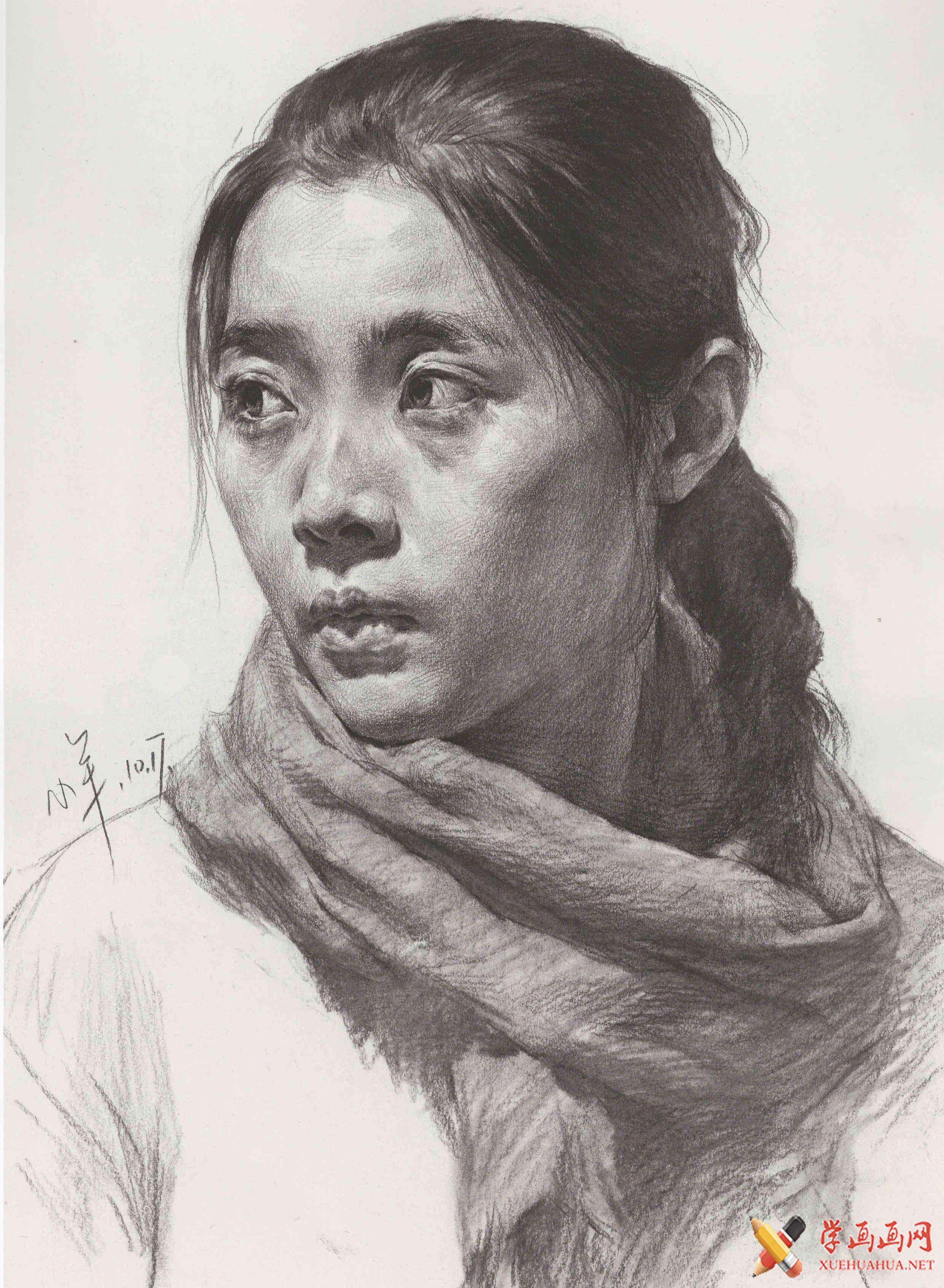 年轻女子素描头像高清图片(1)