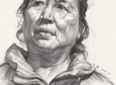 中老年女子正面高清素描画【可临摹】