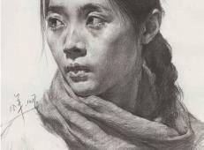 年轻女子素描头像高清图片