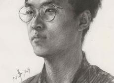 戴眼镜的青年男子高清素描画图片