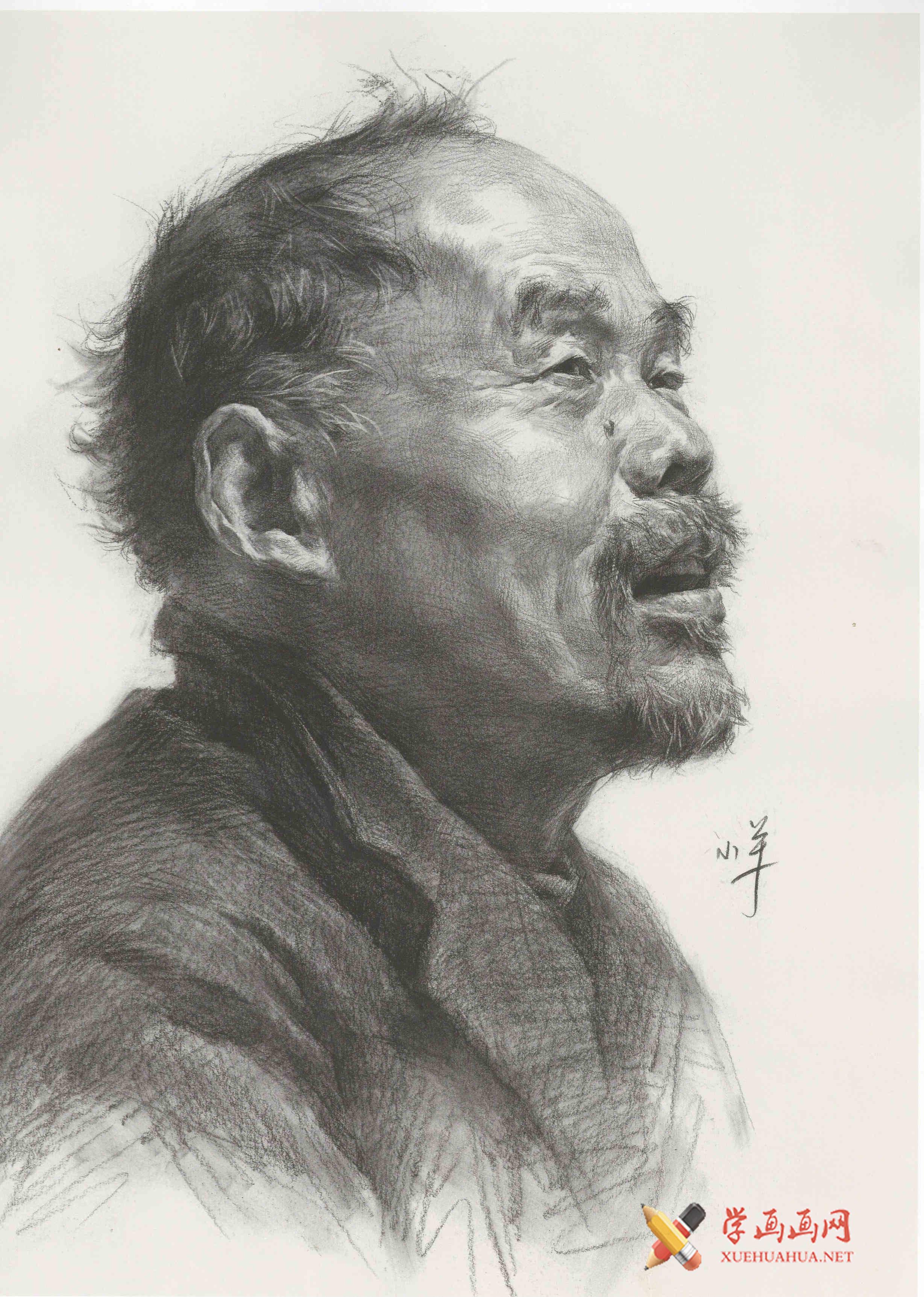 优秀素描头像《侧面老人》高清素描画临摹图片(1)