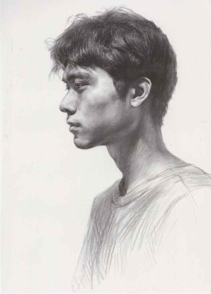 笔法细腻的素描男子头像高清临摹范画图片(1)