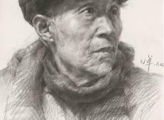 带鸭舌帽的老人素描头像高清临摹图片